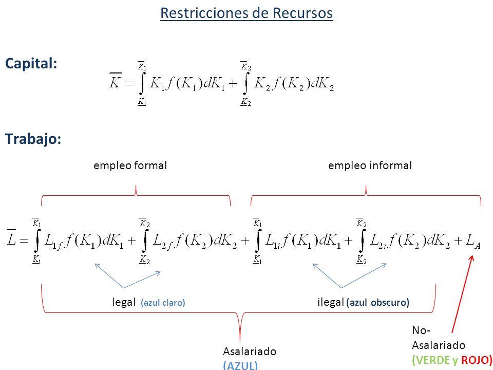 Restricciones de Recursos Capital: Trabajo: empleo formal empleo informal legal (azul claro) ilegal (azul obscuro) Asalariado (AZUL) No- Asalariado (VERDE y ROJO)