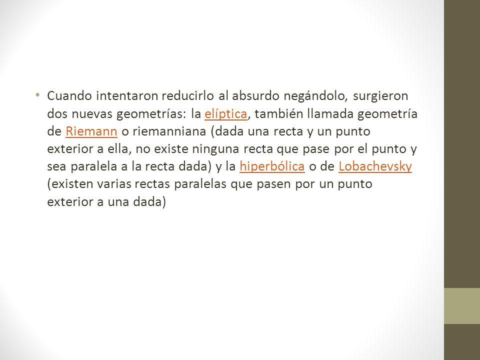 Las geometrías donde el quinto postulado no es válido se llaman geometrías no euclidianas.geometrías no euclidianas.