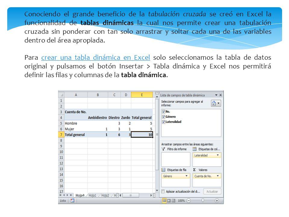 Conociendo el grande beneficio de la tabulación cruzada se creó en Excel la funcionalidad de tablas dinámicas la cual nos permite crear una tabulación