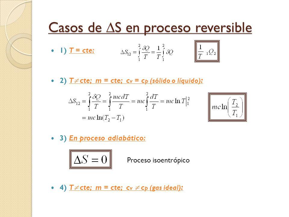 Casos de S en proceso reversible 1) T = cte: 2) T cte; m = cte; c v = c p (sólido o líquido) : 3) En proceso adiabático: 4) T cte; m = cte; c v c p (gas ideal) : Proceso isoentrópico