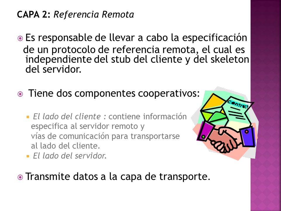 CAPA 2: Referencia Remota Es responsable de llevar a cabo la especificación de un protocolo de referencia remota, el cual es independiente del stub del cliente y del skeleton del servidor.