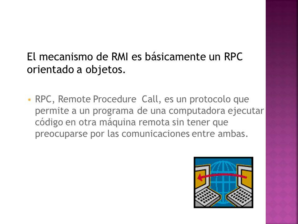Existen tres procesos fundamentales: El cliente: proceso que invoca un método en un objeto remoto.