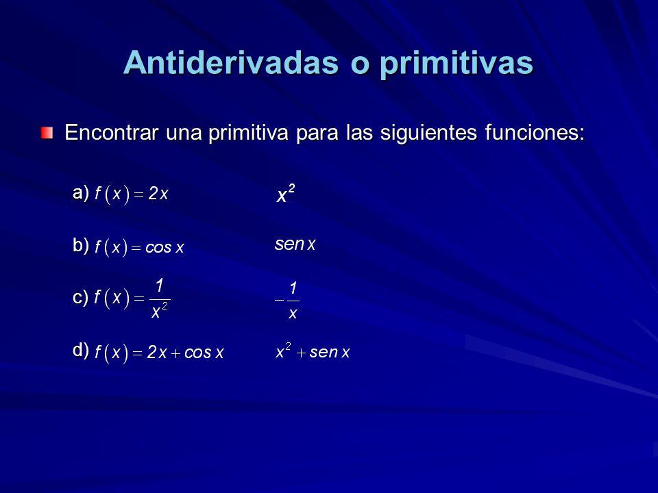 Antiderivadas o primitivas Encontrar una primitiva para las siguientes funciones: a). b). c). d).