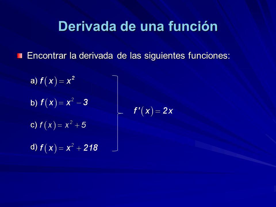 Derivada de una función Encontrar la derivada de las siguientes funciones: a). b). c). d).