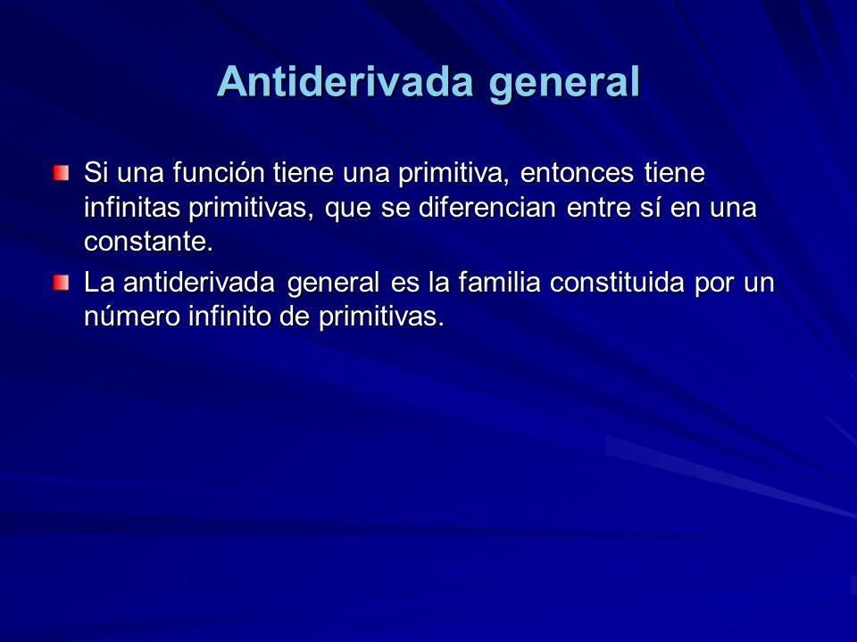 Antiderivada general Si una función tiene una primitiva, entonces tiene infinitas primitivas, que se diferencian entre sí en una constante. La antider