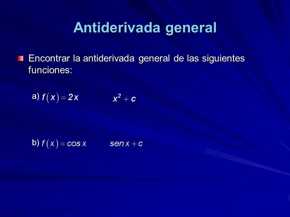 Encontrar la antiderivada general de las siguientes funciones: a). b).