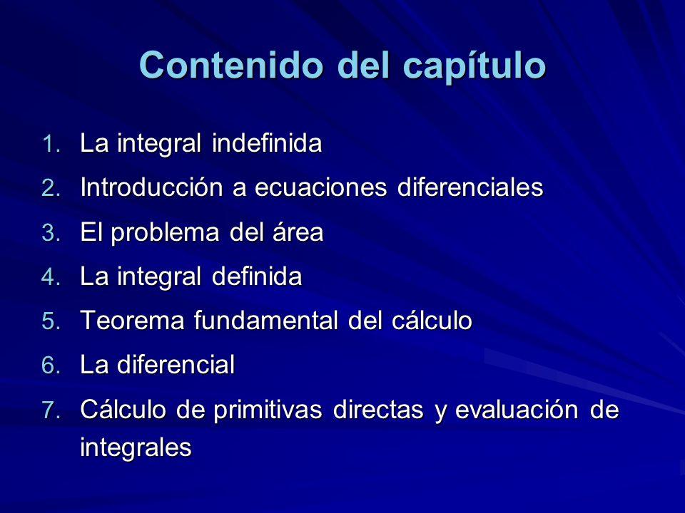 Contenido del capítulo 1. La integral indefinida 2. Introducción a ecuaciones diferenciales 3. El problema del área 4. La integral definida 5. Teorema