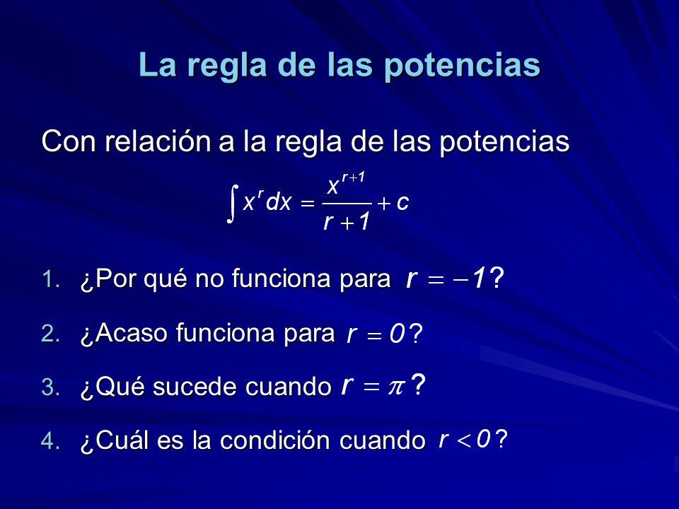 La regla de las potencias Con relación a la regla de las potencias 1. ¿Por qué no funciona para 2. ¿Acaso funciona para 3. ¿Qué sucede cuando 4. ¿Cuál