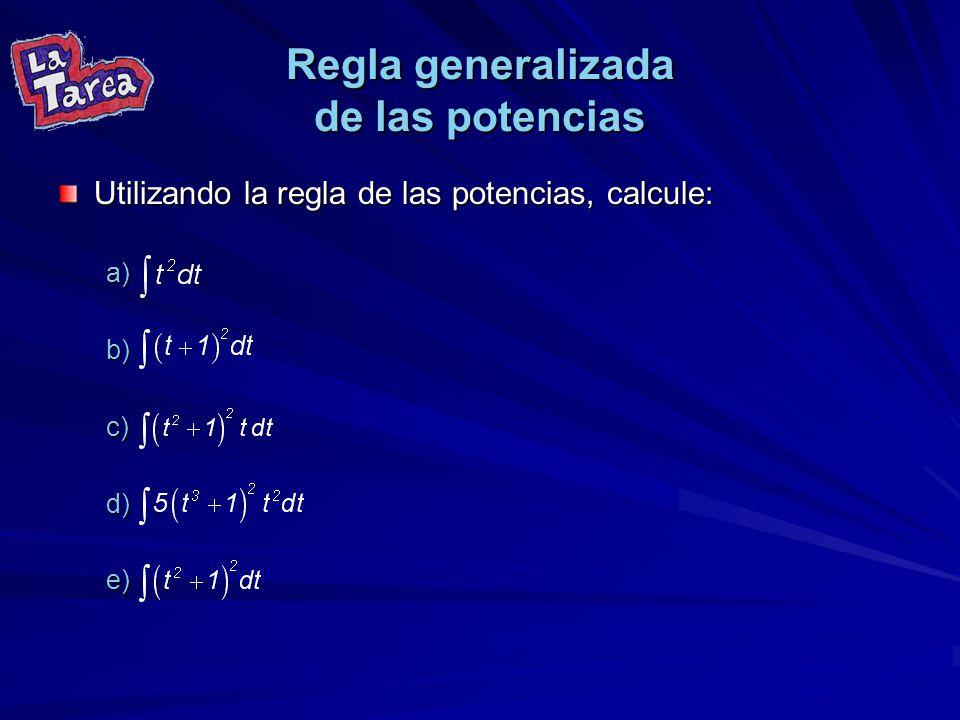 Regla generalizada de las potencias Utilizando la regla de las potencias, calcule: a). b). c). d). e).
