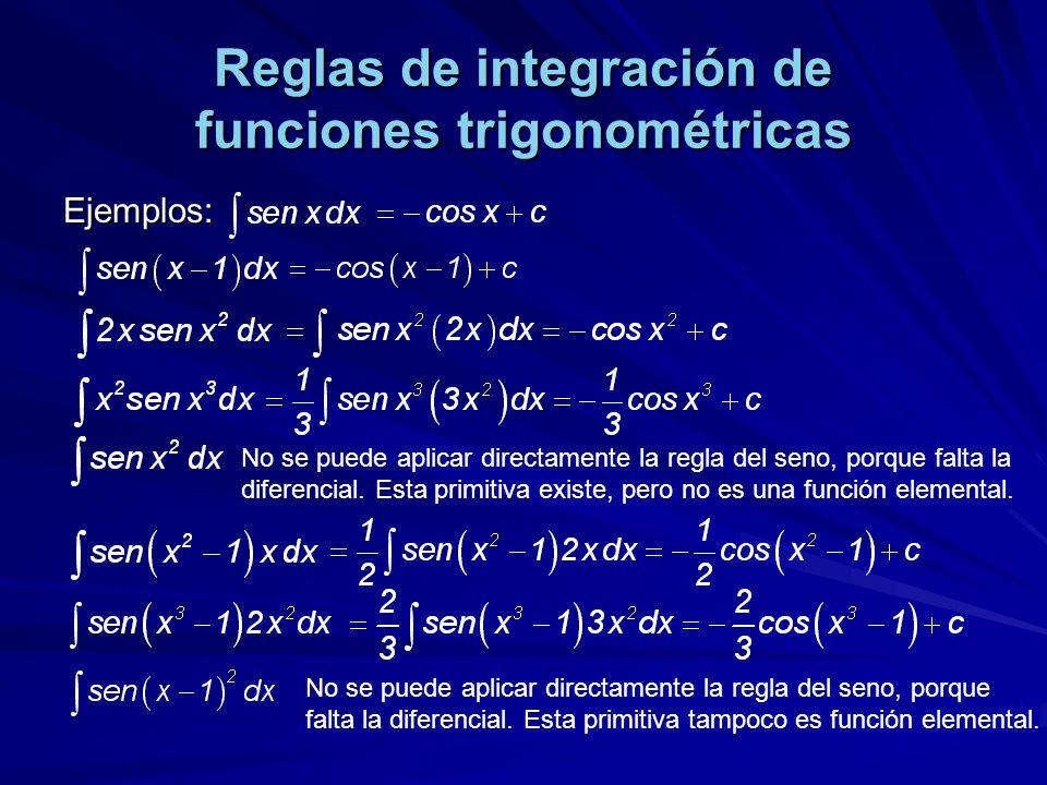 Reglas de integración de funciones trigonométricas Ejemplos: No se puede aplicar directamente la regla del seno, porque falta la diferencial. Esta pri