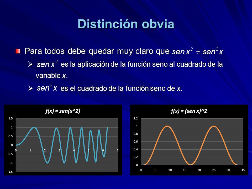 Distinción obvia Para todos debe quedar muy claro que. es la aplicación de la función seno al cuadrado de la variable x.. es la aplicación de la funci