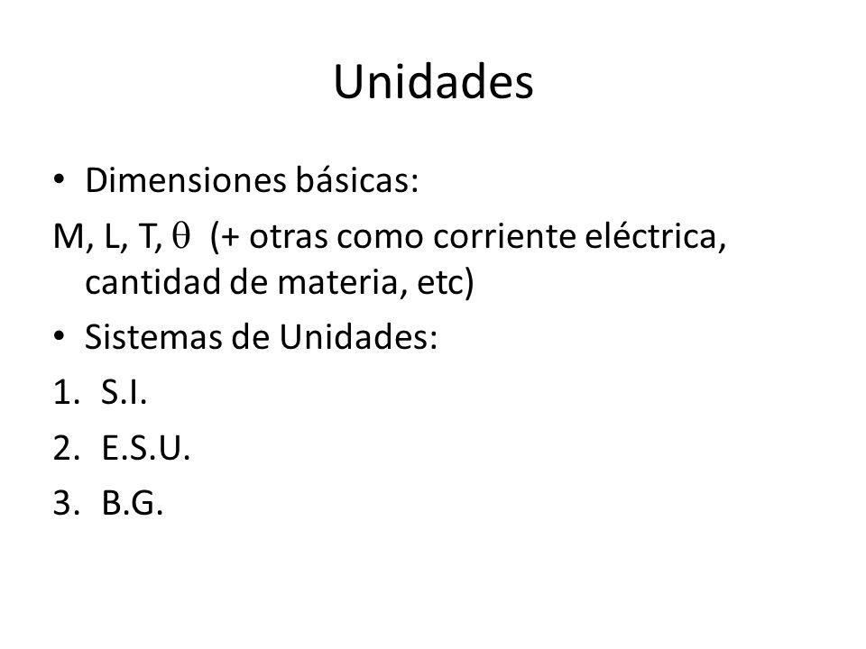 Unidades Dimensiones básicas: M, L, T, (+ otras como corriente eléctrica, cantidad de materia, etc) Sistemas de Unidades: 1.S.I. 2.E.S.U. 3.B.G.