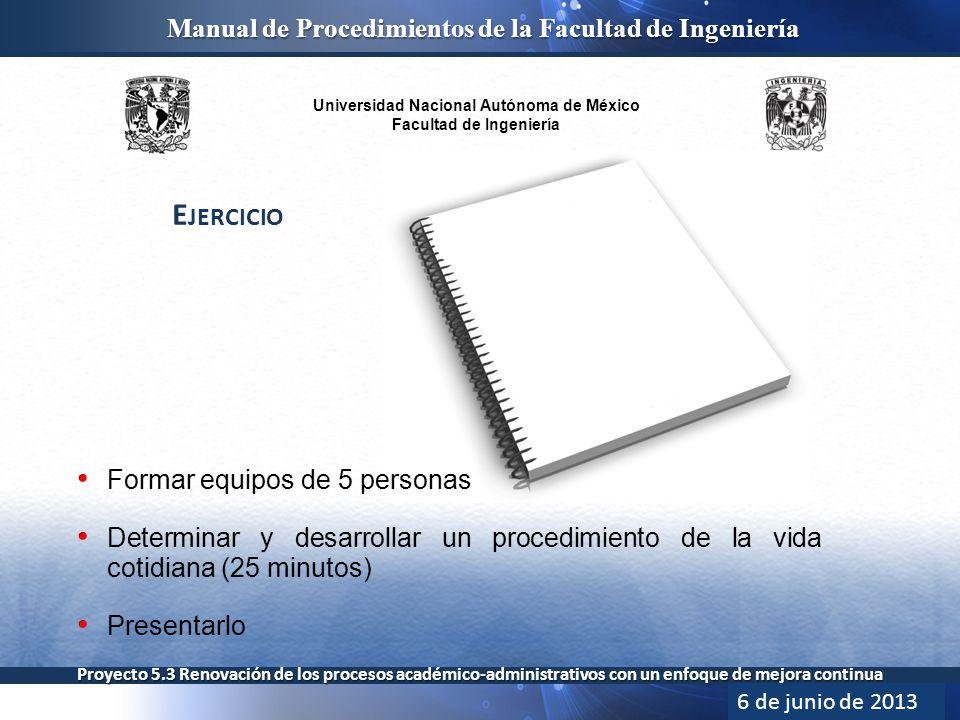 Universidad Nacional Autónoma de México Facultad de Ingeniería Manual de Procedimientos de la Facultad de Ingeniería Proyecto 5.3 Renovación de los procesos académico-administrativos con un enfoque de mejora continua E JERCICIO 6 de junio de 2013