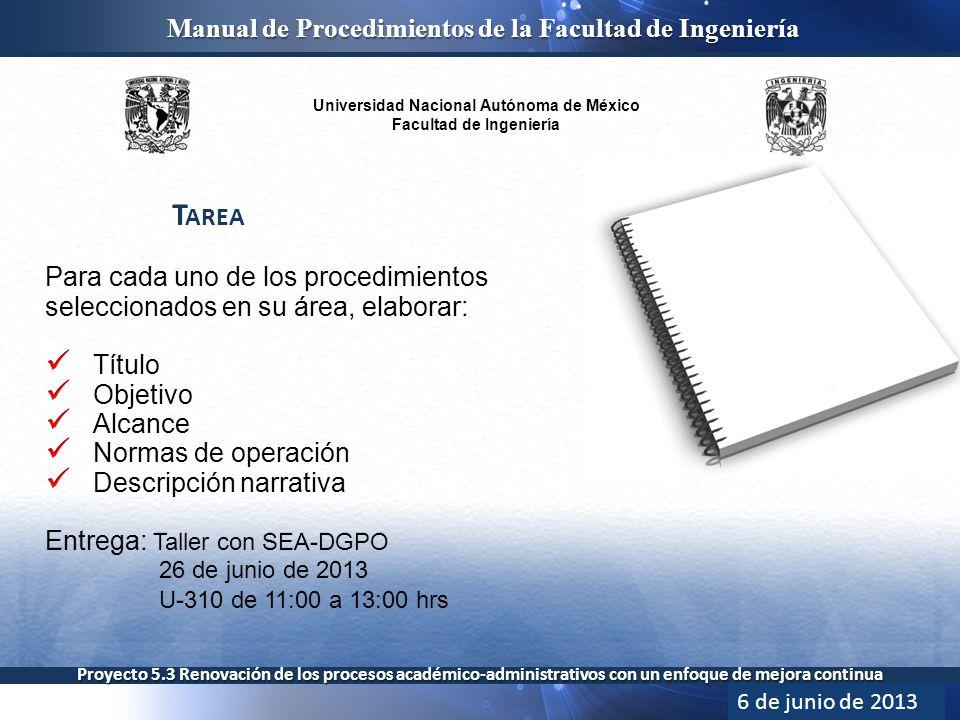 Universidad Nacional Autónoma de México Facultad de Ingeniería Manual de Procedimientos de la Facultad de Ingeniería Proyecto 5.3 Renovación de los procesos académico-administrativos con un enfoque de mejora continua T AREA 6 de junio de 2013