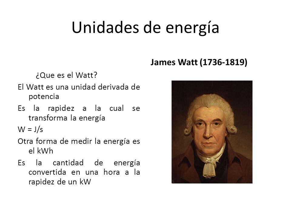 Unidades de energía ¿Que es el Watt? El Watt es una unidad derivada de potencia Es la rapidez a la cual se transforma la energía W = J/s Otra forma de