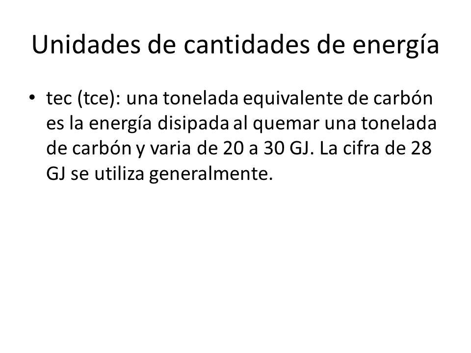 Unidades de cantidades de energía tec (tce): una tonelada equivalente de carbón es la energía disipada al quemar una tonelada de carbón y varia de 20
