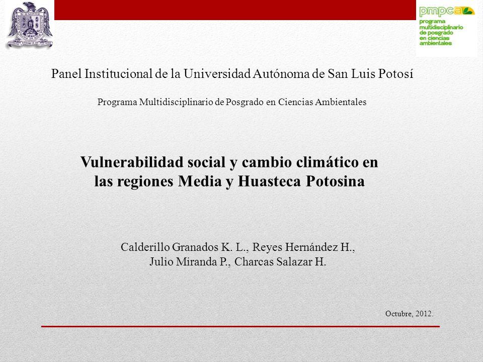 Panel Institucional de la Universidad Autónoma de San Luis Potosí Programa Multidisciplinario de Posgrado en Ciencias Ambientales Vulnerabilidad socia