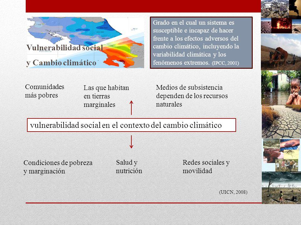 En el caso de México Escenarios climáticos, generados con Modelos de Circulación General (MCG) bajo escenarios de emisión A2 y B2, el clima será más cálido para el 2020, 2050 y 2080, principalmente en el norte del país y se proyectan disminuciones en la lluvia, así como cambios en su distribución temporal (Montero, 2007).