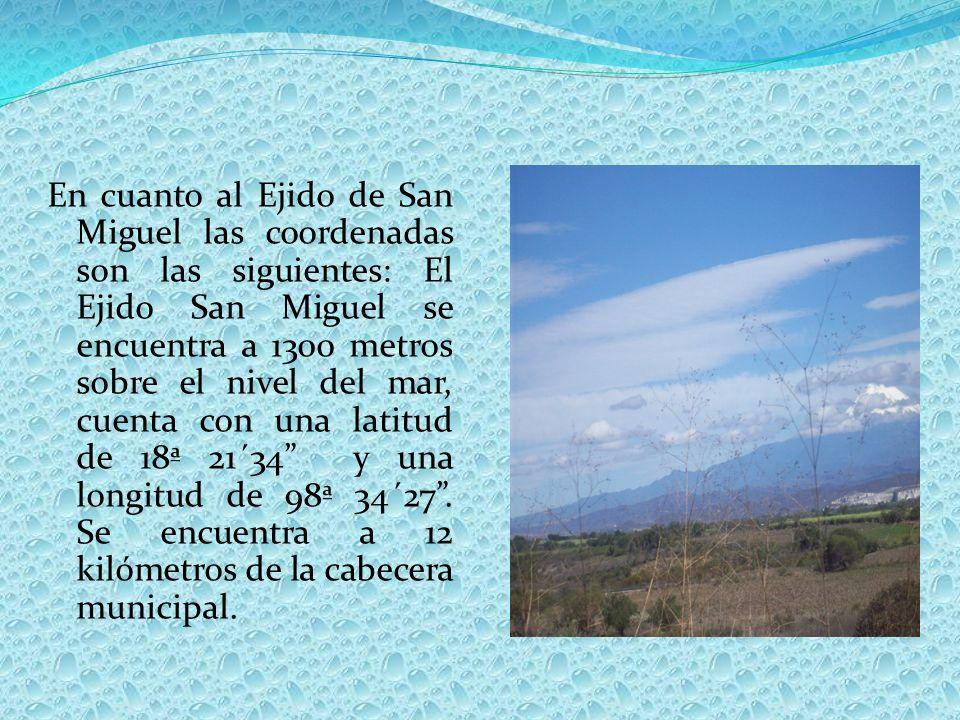 En cuanto al Ejido de San Miguel las coordenadas son las siguientes: El Ejido San Miguel se encuentra a 1300 metros sobre el nivel del mar, cuenta con una latitud de 18ª 21´34 y una longitud de 98ª 34´27.