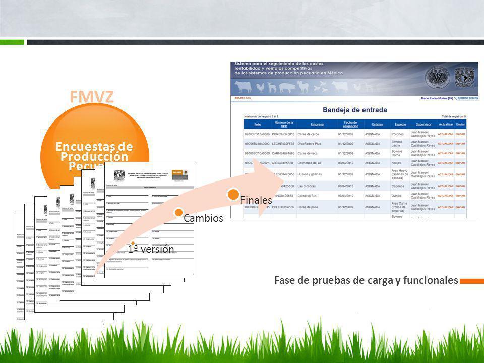 FMVZ Encuestas de Producción Pecuaria Fase de pruebas de carga y funcionales 1ª versión Cambios Finales