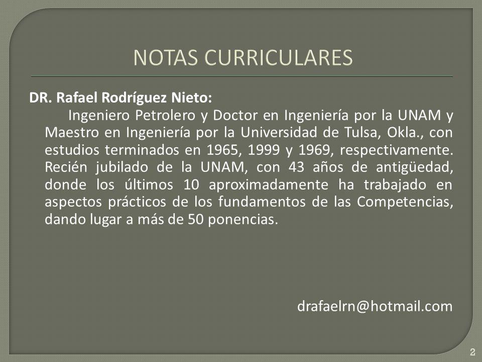 DR. Rafael Rodríguez Nieto: Ingeniero Petrolero y Doctor en Ingeniería por la UNAM y Maestro en Ingeniería por la Universidad de Tulsa, Okla., con est