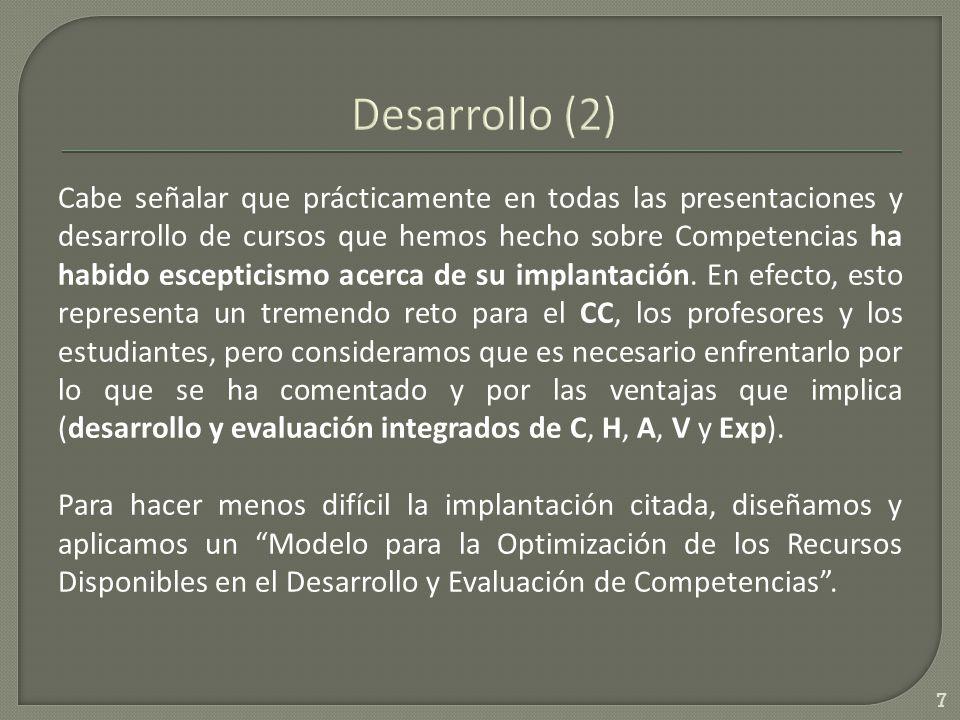 El modelo de optimización es 8, 13 : DEC= f (E 1, E 2 ; Ac 1, Ac 2 *; H 1, H 2 ; V 1, V 2 ; t 1, t 2 *; Ant 1, Ant 2 ; Comp*; Ev; obs; ov) En el trabajo en extenso se comenta ampliamente la necesidad de capacitación de docentes, y de estudiantes, empezando por un análisis preliminar del modelo.