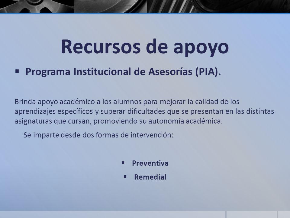 Recursos de apoyo Programa Institucional de Asesorías (PIA). Brinda apoyo académico a los alumnos para mejorar la calidad de los aprendizajes específi