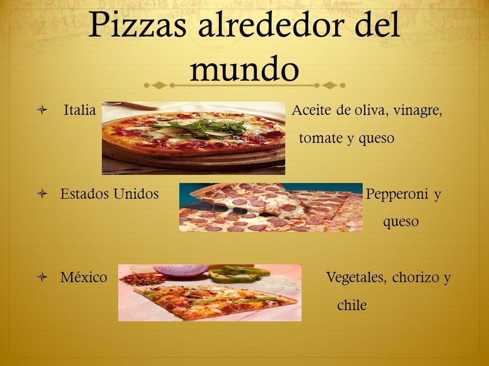 Pizzas alrededor del mundo Italia Aceite de oliva, vinagre, tomate y queso Estados Unidos Pepperoni y queso México Vegetales, chorizo y chile