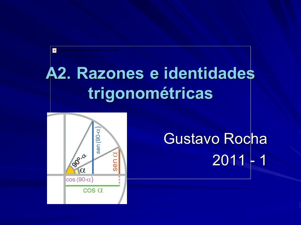 A2. Razones e identidades trigonométricas Gustavo Rocha 2011 - 1
