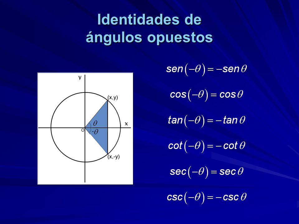 Identidades de ángulos opuestos