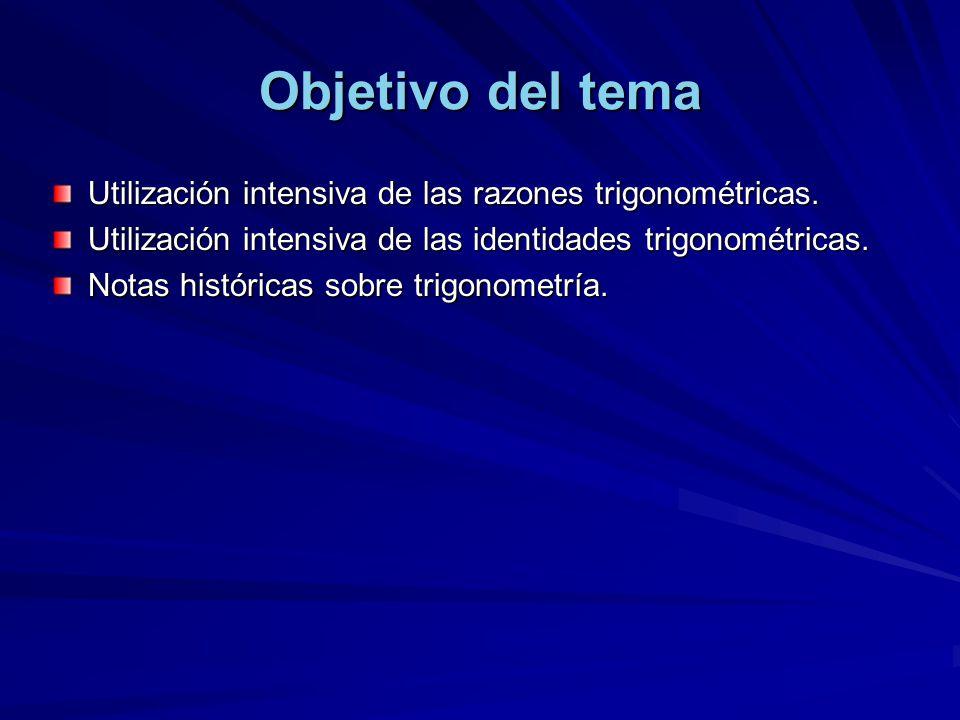 Objetivo del tema Utilización intensiva de las razones trigonométricas. Utilización intensiva de las identidades trigonométricas. Notas históricas sob