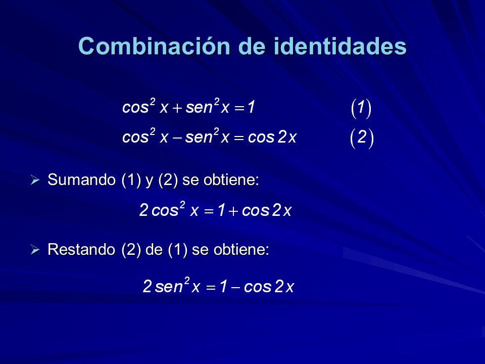 Combinación de identidades Sumando (1) y (2) se obtiene: Sumando (1) y (2) se obtiene: Restando (2) de (1) se obtiene: Restando (2) de (1) se obtiene: