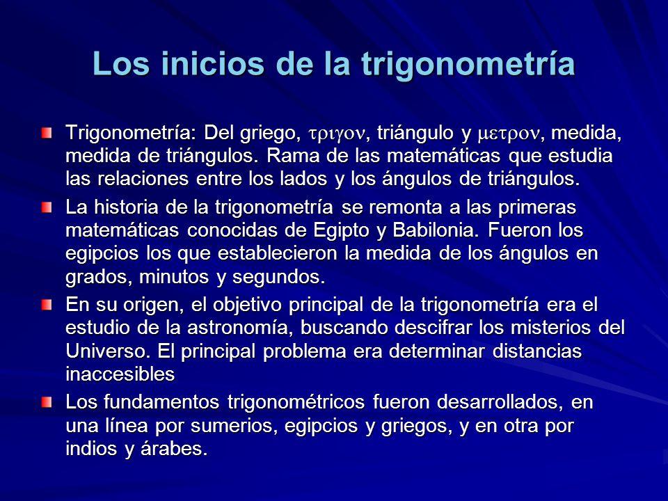 Los inicios de la trigonometría Trigonometría: Del griego,, triángulo y, medida, medida de triángulos. Rama de las matemáticas que estudia las relacio