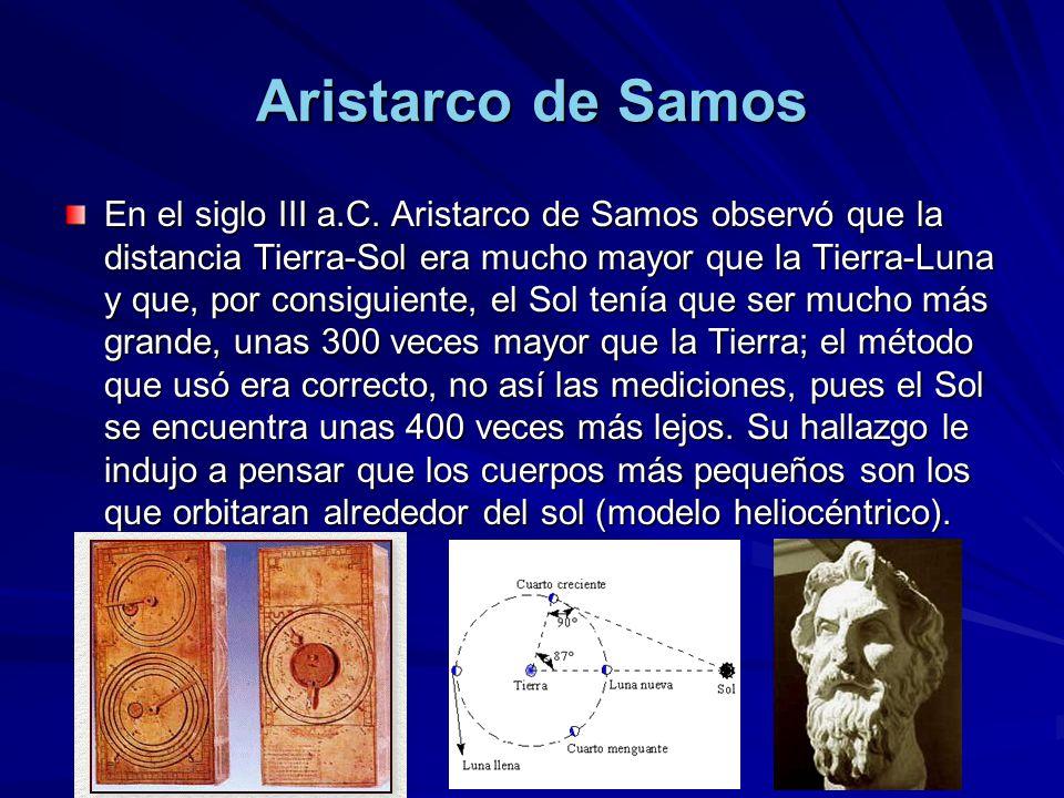 Aristarco de Samos En el siglo III a.C. Aristarco de Samos observó que la distancia Tierra-Sol era mucho mayor que la Tierra-Luna y que, por consiguie