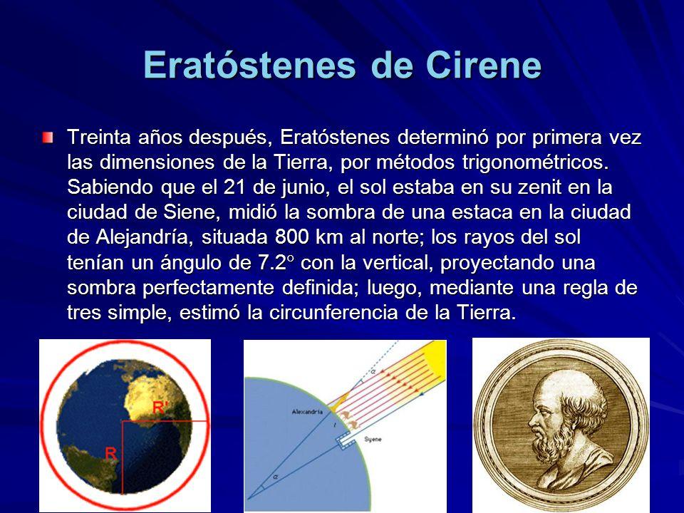 Eratóstenes de Cirene Treinta años después, Eratóstenes determinó por primera vez las dimensiones de la Tierra, por métodos trigonométricos. Sabiendo