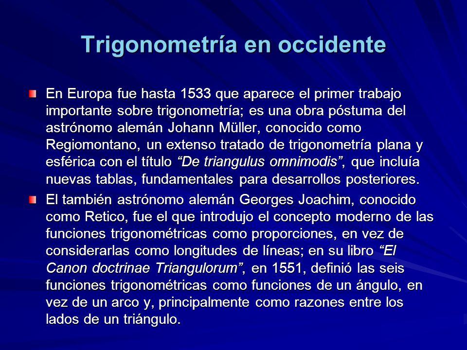 Trigonometría en occidente En Europa fue hasta 1533 que aparece el primer trabajo importante sobre trigonometría; es una obra póstuma del astrónomo al