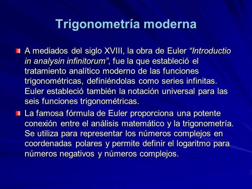 Trigonometría moderna A mediados del siglo XVIII, la obra de Euler Introductio in analysin infinitorum, fue la que estableció el tratamiento analítico