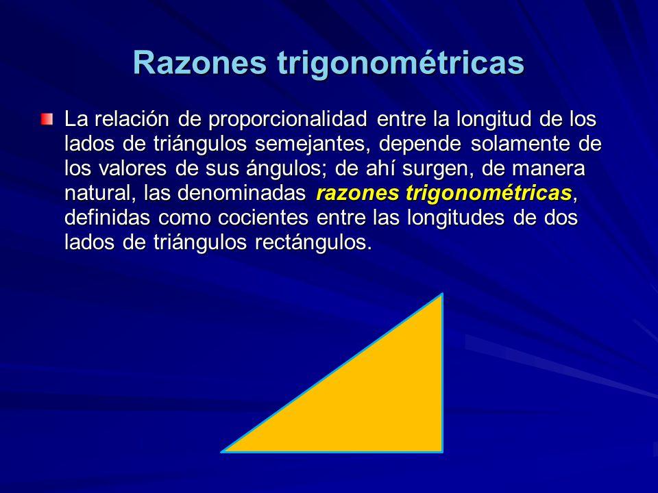 Razones trigonométricas La relación de proporcionalidad entre la longitud de los lados de triángulos semejantes, depende solamente de los valores de s