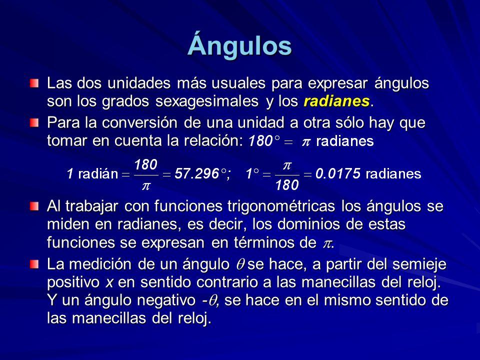 Ángulos Las dos unidades más usuales para expresar ángulos son los grados sexagesimales y los radianes. Para la conversión de una unidad a otra sólo h