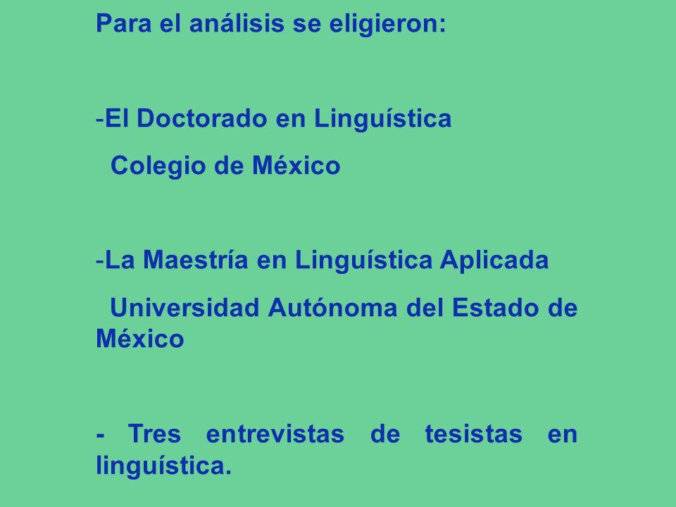 Para el análisis se eligieron: -El Doctorado en Linguística Colegio de México -La Maestría en Linguística Aplicada Universidad Autónoma del Estado de