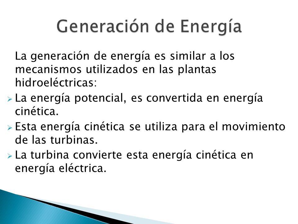 La generación de energía es similar a los mecanismos utilizados en las plantas hidroeléctricas: La energía potencial, es convertida en energía cinética.