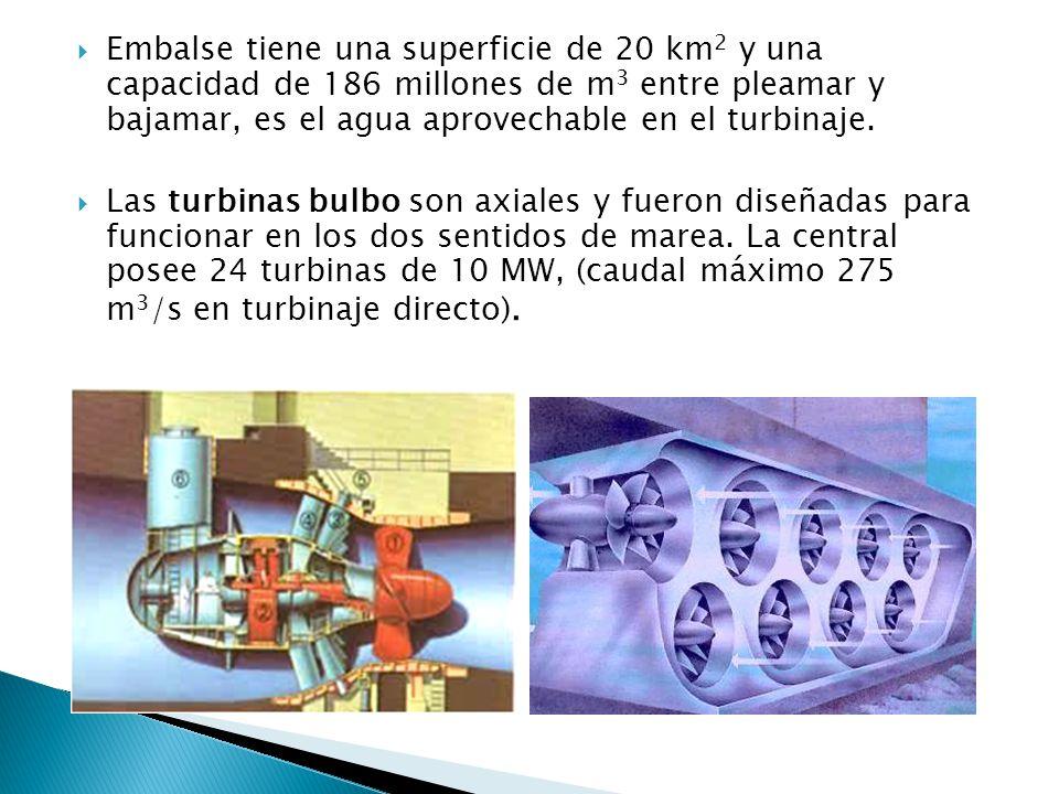 Embalse tiene una superficie de 20 km 2 y una capacidad de 186 millones de m 3 entre pleamar y bajamar, es el agua aprovechable en el turbinaje.