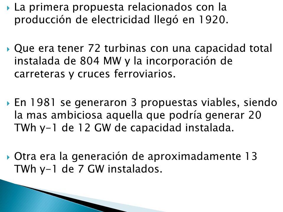 La primera propuesta relacionados con la producción de electricidad llegó en 1920.