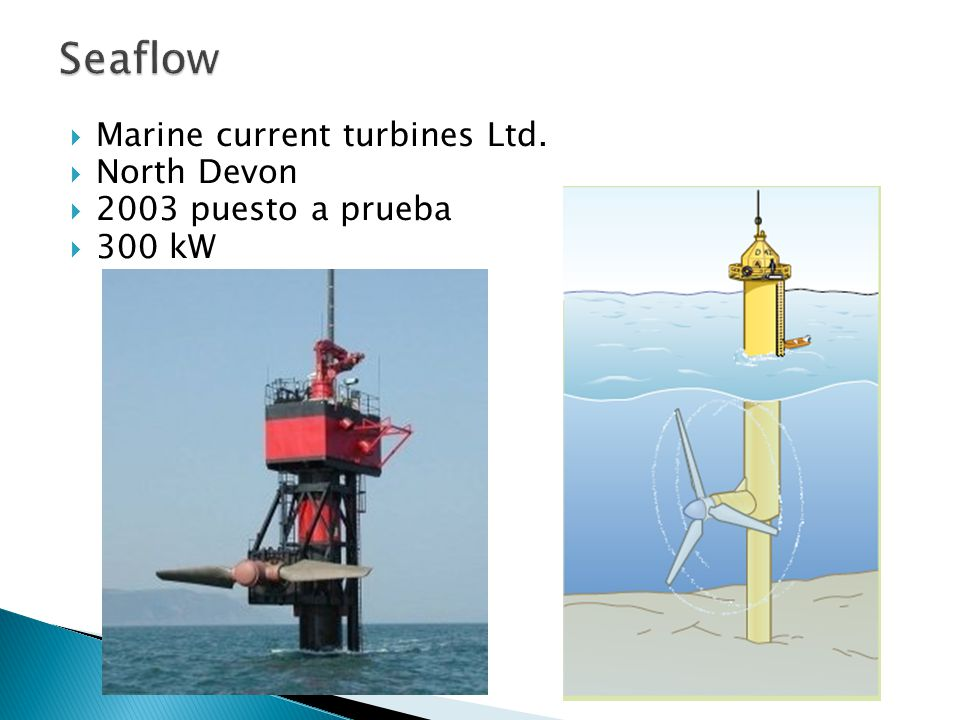 Marine current turbines Ltd. North Devon 2003 puesto a prueba 300 kW