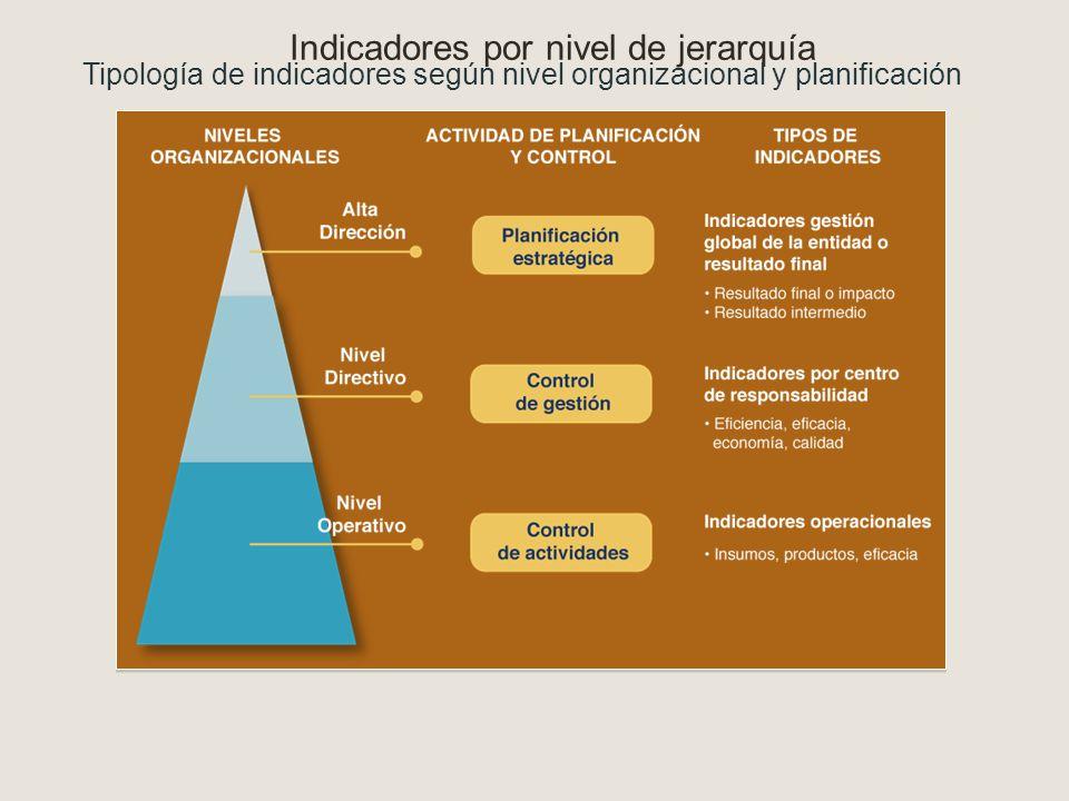 Indicadores por nivel de jerarquía Tipología de indicadores según nivel organizacional y planificación