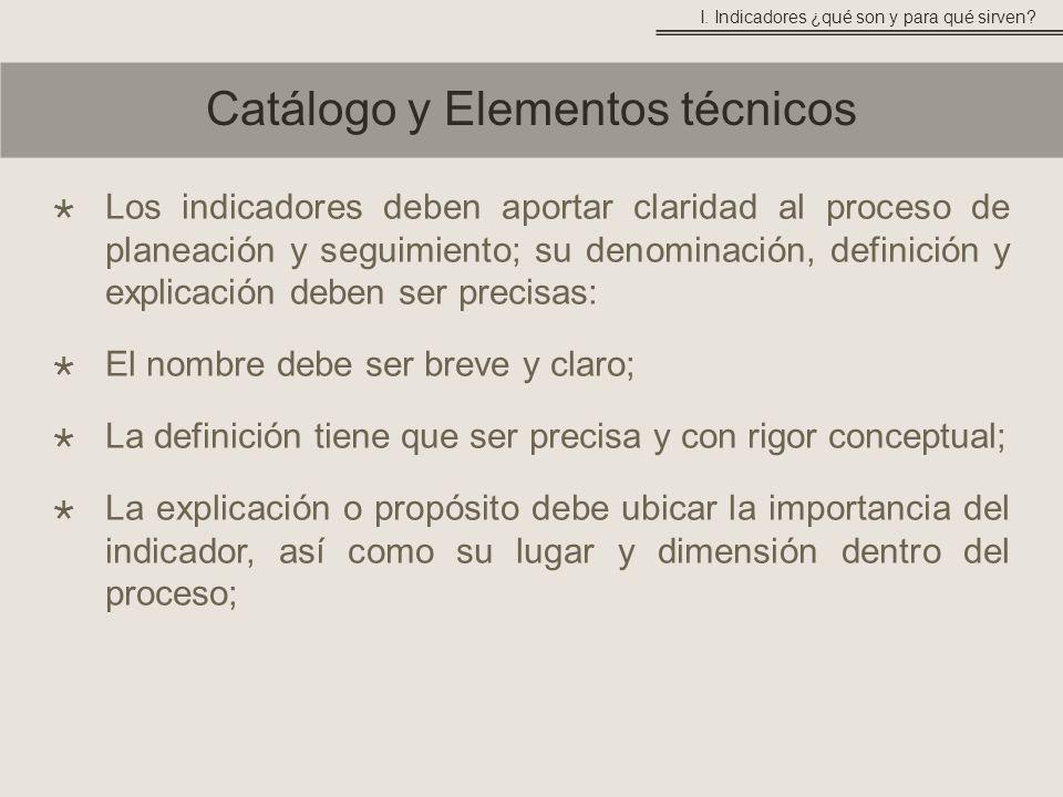 Los indicadores deben aportar claridad al proceso de planeación y seguimiento; su denominación, definición y explicación deben ser precisas: El nombre debe ser breve y claro; La definición tiene que ser precisa y con rigor conceptual; La explicación o propósito debe ubicar la importancia del indicador, así como su lugar y dimensión dentro del proceso; Catálogo y Elementos técnicos I.