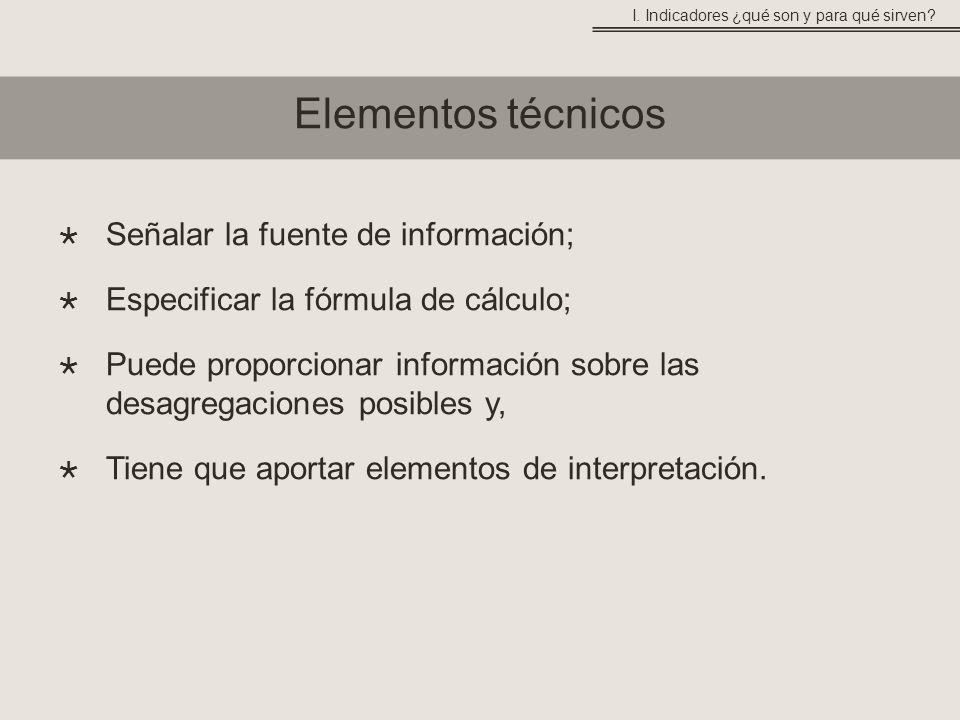 Señalar la fuente de información; Especificar la fórmula de cálculo; Puede proporcionar información sobre las desagregaciones posibles y, Tiene que aportar elementos de interpretación.