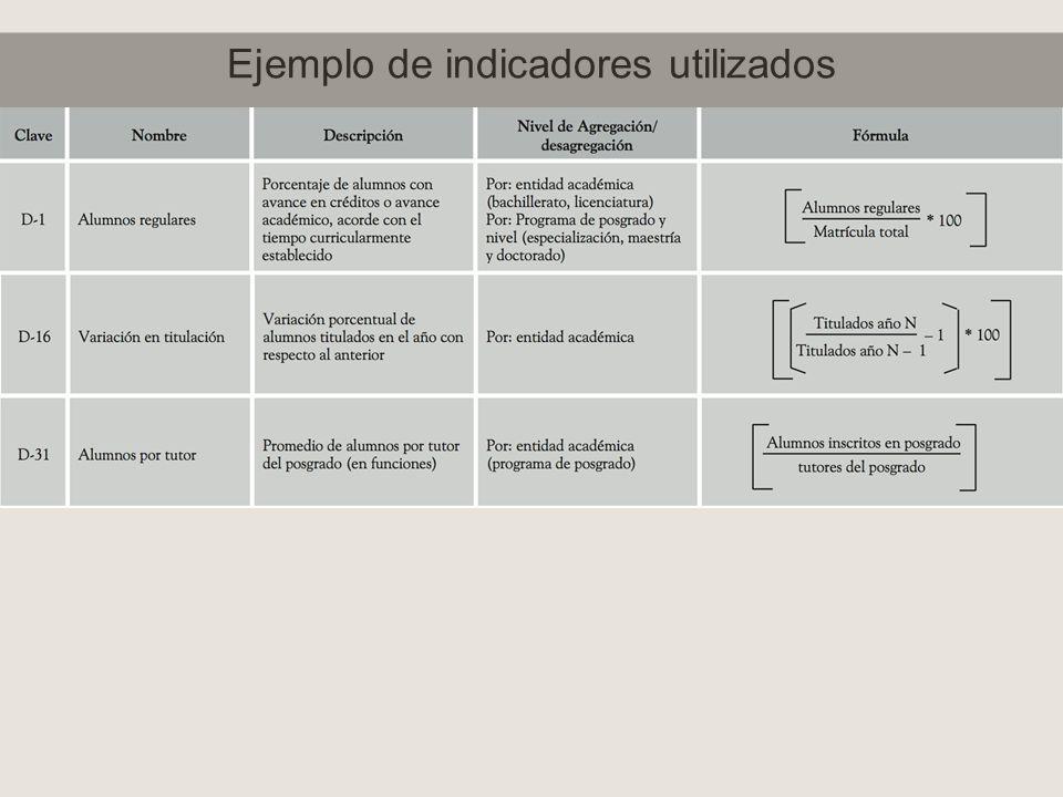 Ejemplo de indicadores utilizados