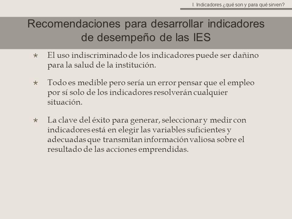 Recomendaciones para desarrollar indicadores de desempeño de las IES I.