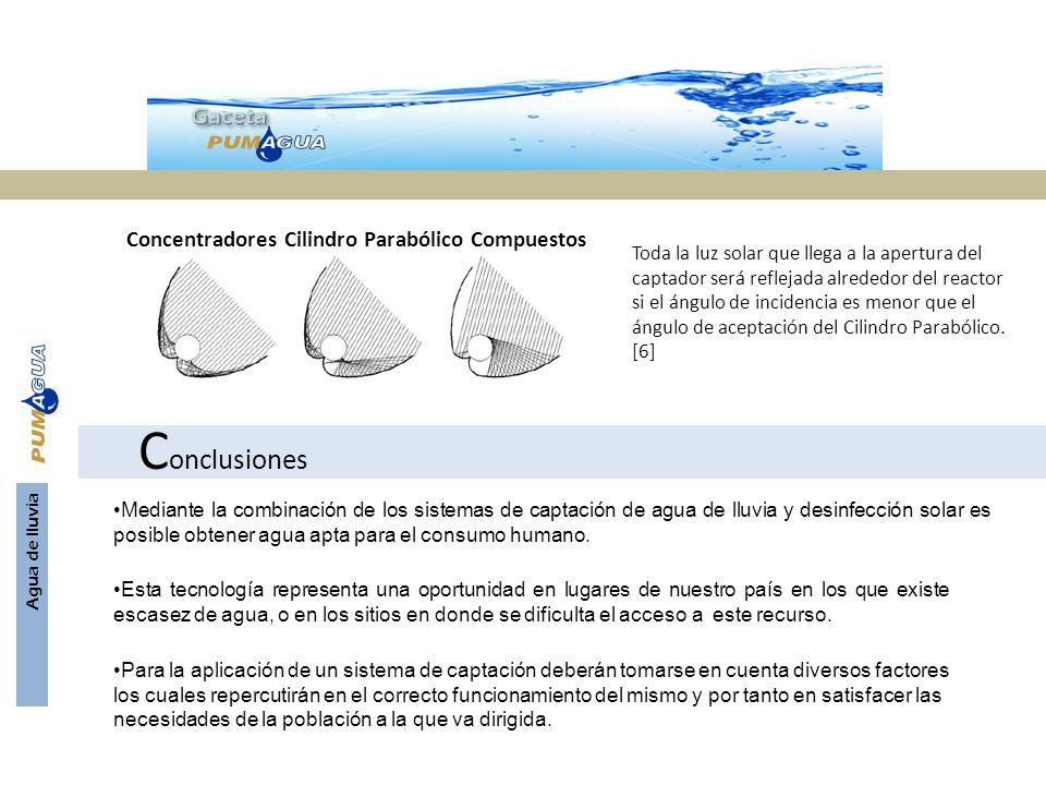 GacetaGaceta Agua de lluvia Concentradores Cilindro Parabólico Compuestos Toda la luz solar que llega a la apertura del captador será reflejada alrede